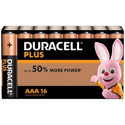 Duracell Plus Power Alkaline Battery, 1.5V, AAA, Pack of 16