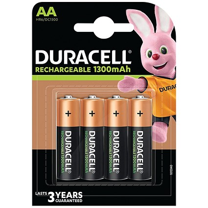 Duracell Rechargeable Battery, Accu NiMH 1300 mAh, AA, Pack of 4