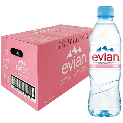 Evian Natural Mineral Water - 24 x 500ml Bottles