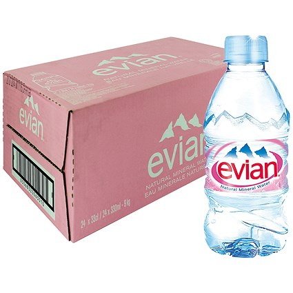 Evian Natural Mineral Water - 24 x 330ml Bottles