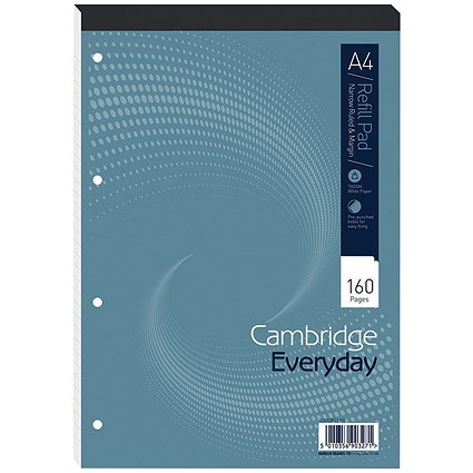 Cambridge Headbound Refill Pad, A4, Narrow Ruled with Margin, 4 Holes, 160 Pages, Pack of 5