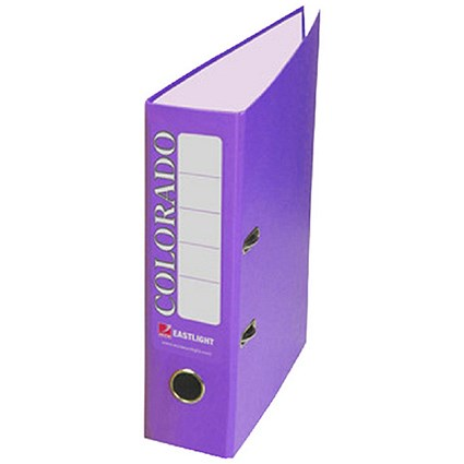 Rexel Colorado Foolscap Lever Arch Files / 80mm Spine / Purple / Pack of 10