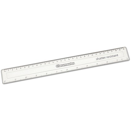 Classmaster Clear Class Ruler, 30cm, Pack of 100
