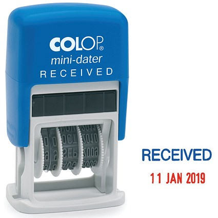 COLOP Self Inking Mini Text and Date Stamp RECEIVED S160L1