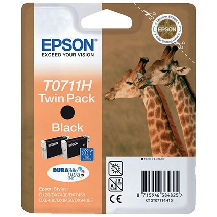 Epson T0711H Black High Yield DURABrite Inkjet Cartridge (Twin Pack)