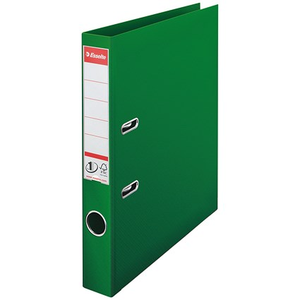 Esselte No 1 Plastic Lever Arch File 50mm A4 Green (Pack of 10)