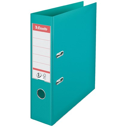 Esselte No. 1 Power A4 Lever Arch Files / Slotted Covers / Turquoise / Pack of 10
