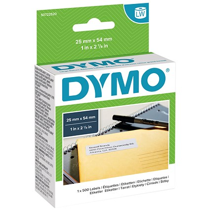 Dymo LabelWriter Labels International White 25x54mm Ref 11352 S0722520 [Pack 500]