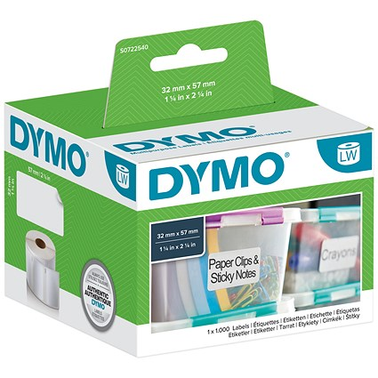 Dymo LabelWriter Labels - Removable Multipurpose White Ref 11354 S0722540 [Pack 1000]