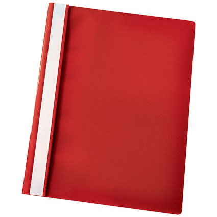 Esselte A4 Report Flat Files, Red, Pack of 25