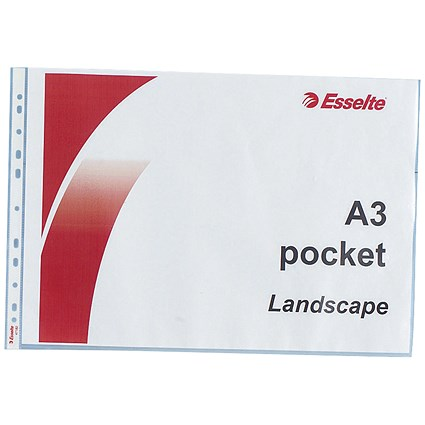 Esselte A3 Plastic Pockets, Landscape, Pack of 10