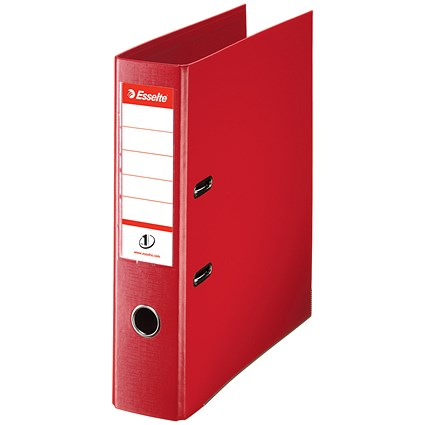 Esselte No. 1 Power A4 Lever Arch Files, 75mm Spine, Red, Pack of 10
