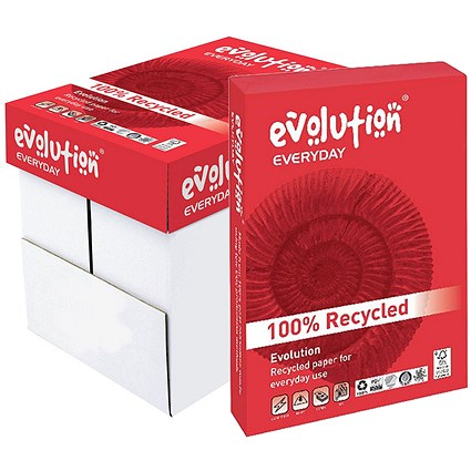 Evolution Everyday A4 Recycled Paper White, 75gsm, Box (5 x 500 Sheets)