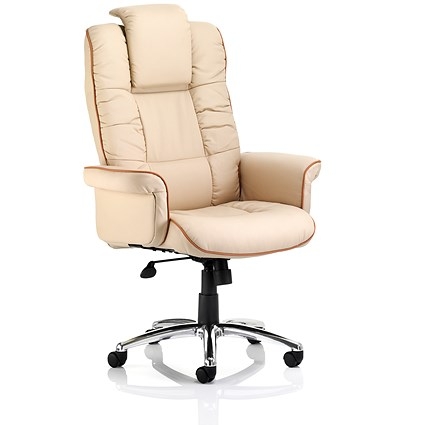 Chelsea Leather Executive Chair - Cream