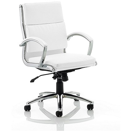 Classic Medium Back Executive Leather Chair - White