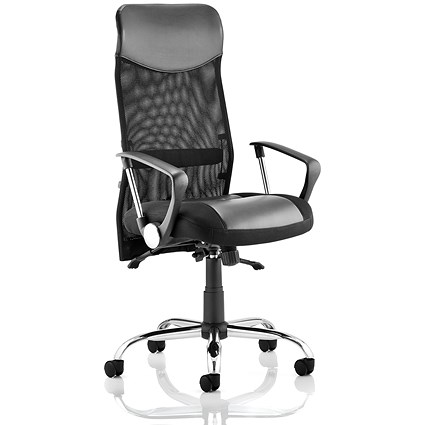 Vegas Executive Leather & Mesh Chair - Black