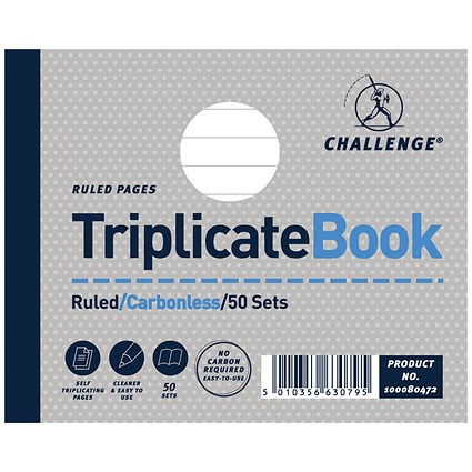 Challenge Wirebound Carbonless Triplicate Book, Ruled, 50 Sets, 105x130mm, Pack of 5