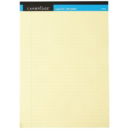 Cambridge Legal Pad, Perforated, Feint Ruled with Margin, A4, 100 Pages, Yellow, Pack of 10