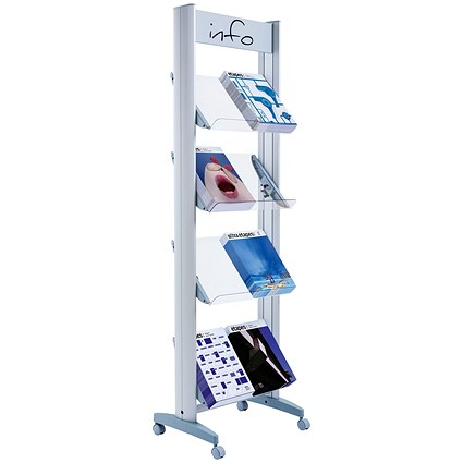 Fast Paper Mobile Literature Display / Single-Sided / 8 Compartments / Silver