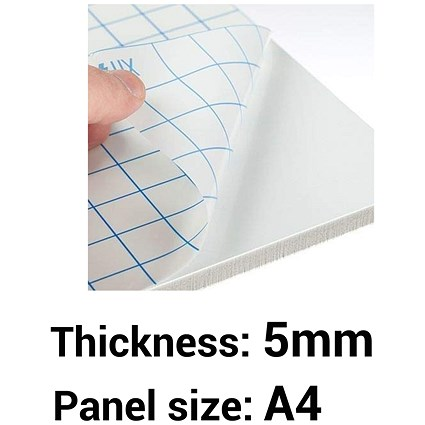 Self- adhesive Foamboard, A4, White, 5mm Thick, Box of 20