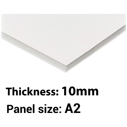 Foamboard, A2, White, 10mm Thick, Box of 10