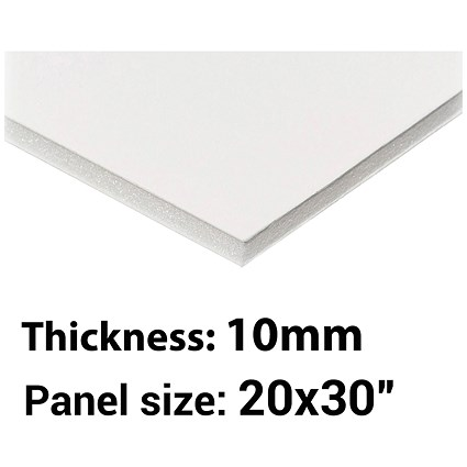 "Foamboard, 20"" x 30"", White, 10mm Thick, Box of 13"