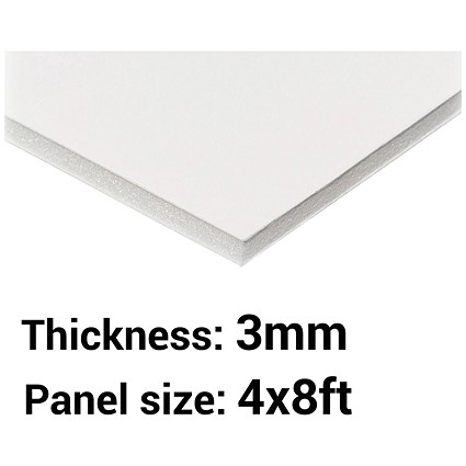 Foamboard, 4ft x 8ft, White, 3mm Thick, Box of 25