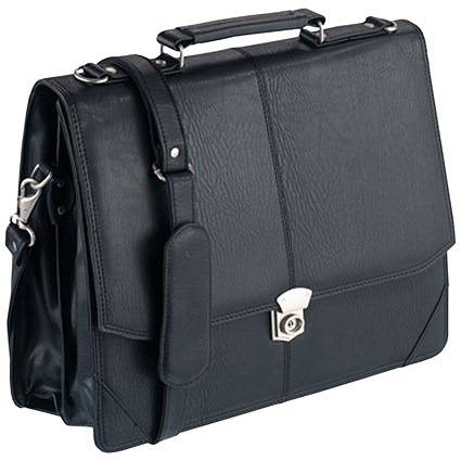 Falcon Synthetic Leather Flapover Briefcase Black