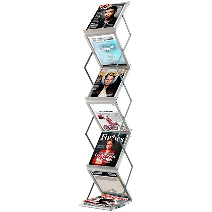 Fast Paper Folding Floor Stand / 6 x A4 Shelves / Silver