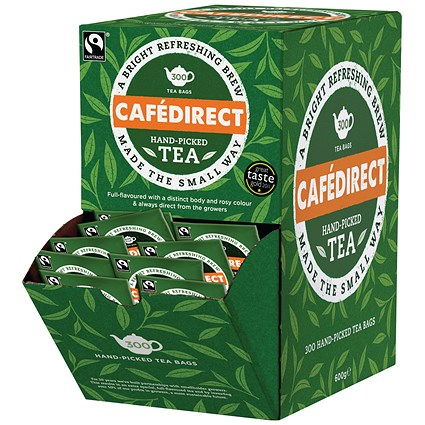 Cafedirect Fairtrade Everyday Tea Dispenser With 300 Tag and Envelope Tea Bags FTB0008