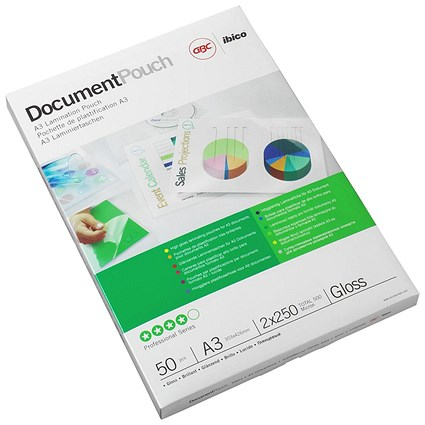 GBC A3 Laminating Pouches, Thin, 150 Micron, Glossy, Pack of 100