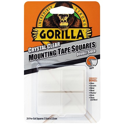 Gorilla Mounting Tape Squares Clear (Pack of 24)