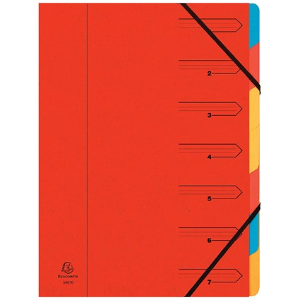 Europa A4 Elasticated Organiser Files / 7-Part / Red
