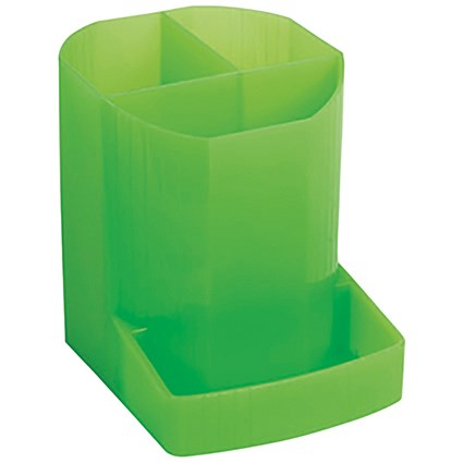 Exacompta Iderama 3 Compartment Pen Pot Lime (W90 x D123 x H110mm)