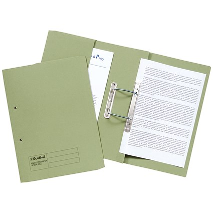 Guildhall Pocket Transfer Files, 420gsm, Foolscap, Green, Pack of 25