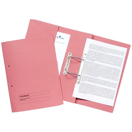 Guildhall Heavyweight Pocket Transfer Files, 420gsm, Foolscap, Pink, Pack 25