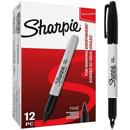 Sharpie Permanent Marker, Fine, Black, Pack of 12