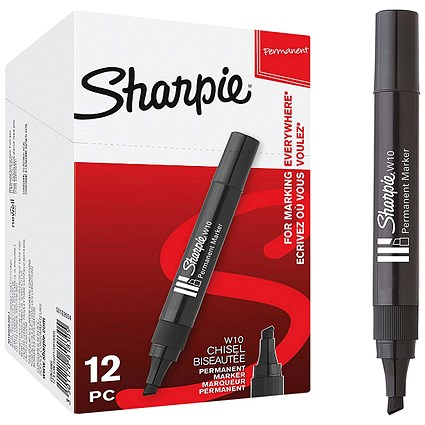Sharpie W10 Permanent Marker, Chisel Tip, Black, Pack of 12
