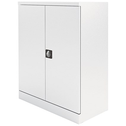 Graviti Plus Steel Stationery Cupboard, 1020mm High, Chalk White