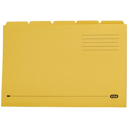 Elba Tabbed Folders, 250gsm, Set of 5, Foolscap, Yellow, Pack of 20