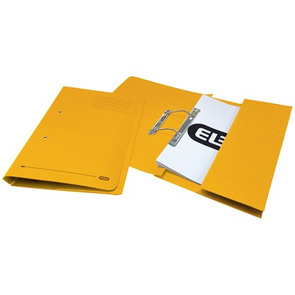 Elba Pocket Transfer Files, 320gsm, Foolscap, Yellow, Pack of 25