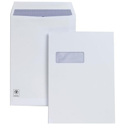 Plus Fabric C4 Pocket Envelopes with Window / Press Seal / 120gsm / White / Pack of 250