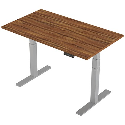 Air Height Adjustable Desk / 1400mm / Silver Legs / Walnut