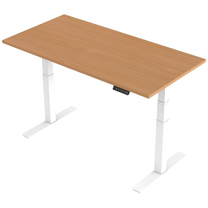 Air Height Adjustable Desk / 1600mm / White Legs / Beech