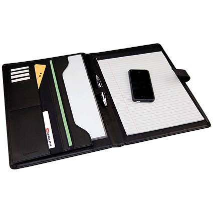 Monolith Conference Folder with A4 pad, 260x340mm, Leather-Look, Black