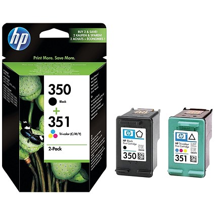 HP 350 Black & 351 Colour Ink Cartridges (2 Cartridges) SD412EE
