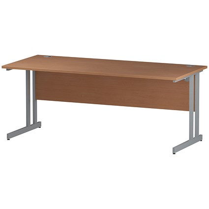 Impulse Rectangular Desk, 1800mm Wide, Silver Legs, Beech