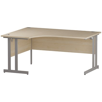 Impulse Corner Desk, Left Hand, 1600mm Wide, Silver Legs, Maple
