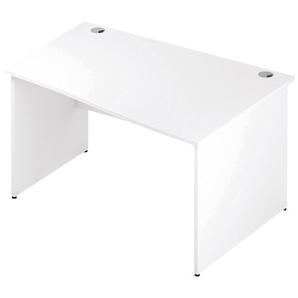 Impulse Panel End Wave Desk / Right Hand / 1400mm Wide / White