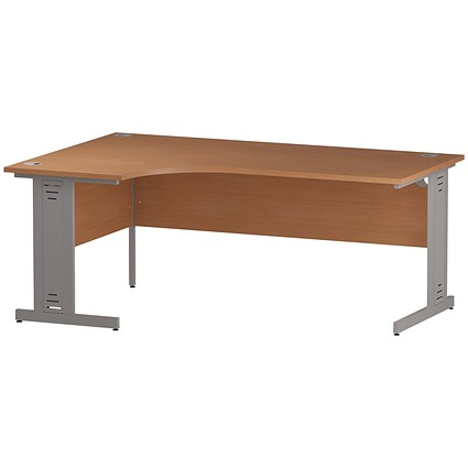 Impulse Plus Corner Desk, Left Hand, 1800mm Wide, Silver Cable Managed Legs, Beech